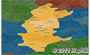 Political Shades Panoramic Map of Sanguie, darken
