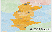 Political Shades Panoramic Map of Sanguie, lighten