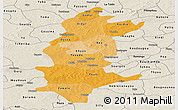 Political Shades Panoramic Map of Sanguie, shaded relief outside