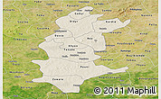 Shaded Relief Panoramic Map of Sanguie, satellite outside