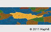 Political Panoramic Map of Pouni, darken