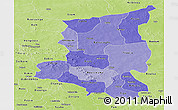 Political Shades Panoramic Map of Sanmatenga, physical outside