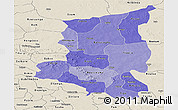 Political Shades Panoramic Map of Sanmatenga, shaded relief outside