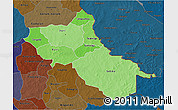 Political Shades 3D Map of Seno, darken