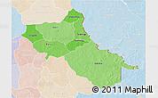 Political Shades 3D Map of Seno, lighten
