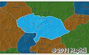 Political 3D Map of Bani, darken