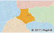 Political 3D Map of Gorgadji, lighten