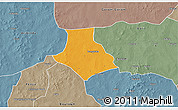 Political 3D Map of Gorgadji, semi-desaturated