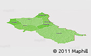 Political Shades Panoramic Map of Seno, cropped outside