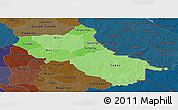 Political Shades Panoramic Map of Seno, darken