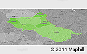 Political Shades Panoramic Map of Seno, desaturated