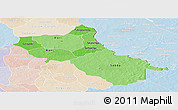 Political Shades Panoramic Map of Seno, lighten