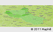 Political Shades Panoramic Map of Seno, physical outside