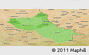 Political Shades Panoramic Map of Seno, satellite outside