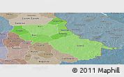 Political Shades Panoramic Map of Seno, semi-desaturated