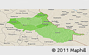 Political Shades Panoramic Map of Seno, shaded relief outside