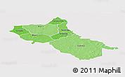 Political Shades Panoramic Map of Seno, single color outside