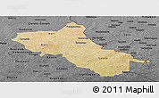 Satellite Panoramic Map of Seno, darken, desaturated