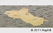 Satellite Panoramic Map of Seno, darken, semi-desaturated