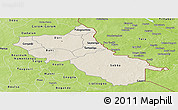 Shaded Relief Panoramic Map of Seno, physical outside