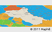 Shaded Relief Panoramic Map of Seno, political outside