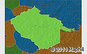 Political 3D Map of Sebba, darken