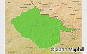 Political 3D Map of Sebba, satellite outside