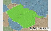 Political 3D Map of Sebba, semi-desaturated
