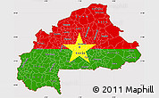 Flag Simple Map of Burkina Faso, flag centered