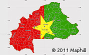 Flag Simple Map of Burkina Faso, flag aligned to the middle