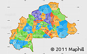 Political Simple Map of Burkina Faso, single color outside