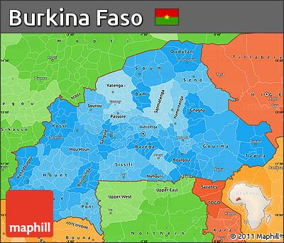 Political Shades Simple Map of Burkina Faso