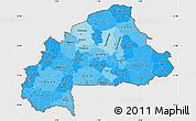 Political Shades Simple Map of Burkina Faso, single color outside