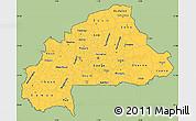 Savanna Style Simple Map of Burkina Faso, single color outside