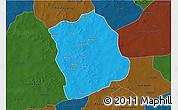 Political 3D Map of Aribinda, darken