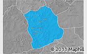 Political 3D Map of Aribinda, desaturated
