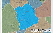 Political 3D Map of Aribinda, semi-desaturated