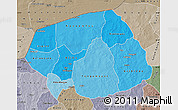Political Shades Map of Soum, semi-desaturated