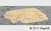 Satellite Panoramic Map of Soum, darken, desaturated