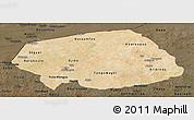 Satellite Panoramic Map of Soum, darken
