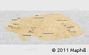 Satellite Panoramic Map of Soum, lighten, desaturated