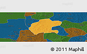 Political Panoramic Map of Gassan, darken