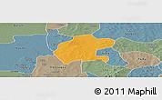 Political Panoramic Map of Gassan, semi-desaturated