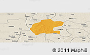 Political Panoramic Map of Gassan, shaded relief outside