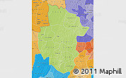 Physical Map of Sourou, political shades outside