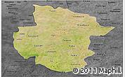 Satellite Panoramic Map of Sourou, darken, desaturated