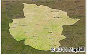 Satellite Panoramic Map of Sourou, darken