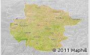 Satellite Panoramic Map of Sourou, lighten, desaturated
