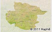 Satellite Panoramic Map of Sourou, lighten