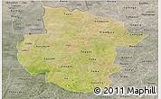 Satellite Panoramic Map of Sourou, semi-desaturated